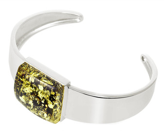Silver Green Amber Cuff Bangle. Small Amber Square