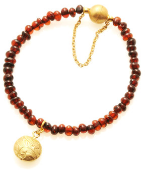 Natural amber beads bracelet. Gold plated silver