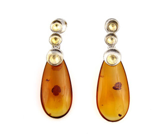 Drop Amber Earrings. Silver and gold plated silver with mat finish