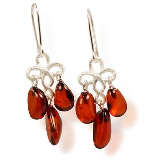 Amber chandelier drop earrings. Lightweight silver dangle earrings