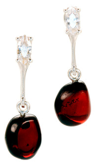 Zirconia and Dark Cognac Amber Drop Earrings