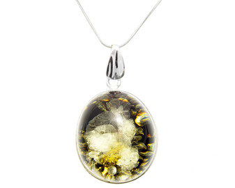 Big green amber pendant necklace