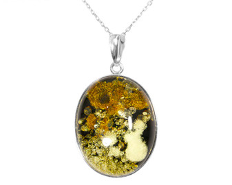 Sterling silver large amber pendant necklace. Luxury jewelry