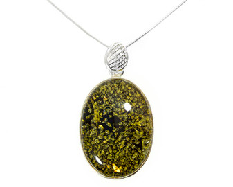 Green amber pendant necklace
