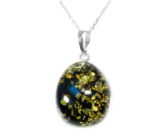 Big Green Amber Necklace Pendant. Unique Necklace