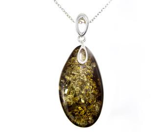 Green amber unique pendant necklace