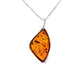 Contemporary cognac amber pendant necklace
