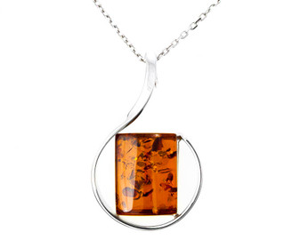 Baltic Amber Pendant Necklace. Artistic Amber Jewellery