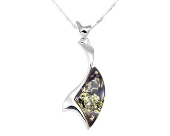 Sterling silver and green Baltic Amber contemporary pendant necklace