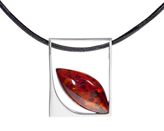 Contemporary Geometric Silver Amber Pendant Necklace
