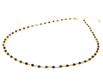 Dainty sterling silver rosary choker necklace