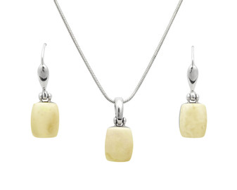 Dainty rhodium plated silver white amber dangle earrings and necklace set.