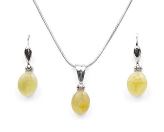 Dainty rhodium plated silver yellow amber dangle earrings and necklace set.