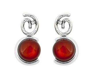 Silver Swirl and Red Amber Stud Earrings