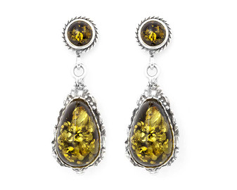 Sterling Silver Ornament and Baltic Green Amber Earrings