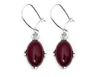 Silver Red Amber Minimalist Filigree Earrings