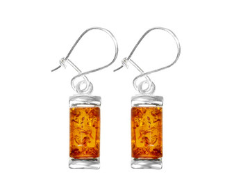 Honey Amber Silver Dainty Earrings