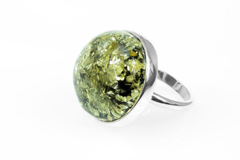 Silver Big Green Amber Statement Ring