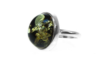 Silver Green Oval Amber Ring