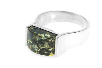 Green Amber Statement Signet Ring