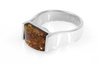 Cognac Amber Signet Ring