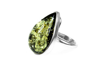 Silver Green Amber Tear Cocktail Ring