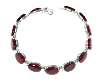 Silver and Cherry Baltic Oval Amber link bracelet. vitality bracelet genuine amber