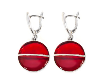 Silver Cherry Red Amber Dangle Drop Earrings