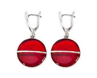 Silver Cherry Red Amber Dangle Drop Earrings