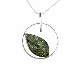 Silver Circle with a Green Amber Leaf Pendant Necklace