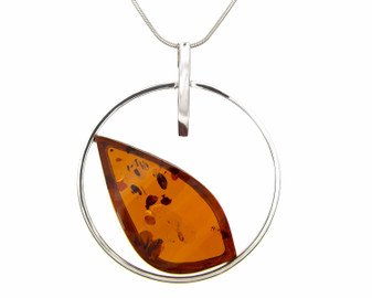Silver Circle with a Cognac Amber Leaf Pendant Necklace