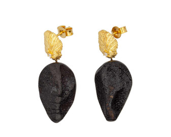 Puro Black Amber Statement Earrings