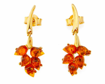 Cognac Amber Earrings Amber Leaf Drop Earrings