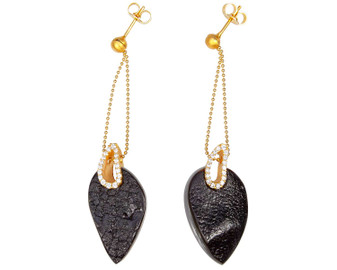 Black Amber Long Earrings
