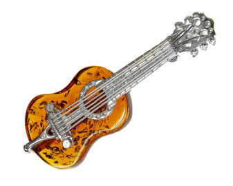 Silver Amber Classic Guitar Brooch and Pendant