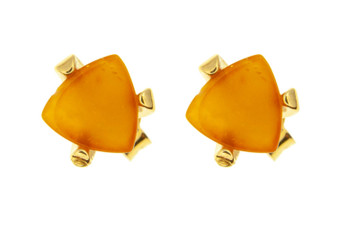 Yellow Amber Little Stud Earrings