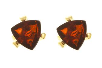 Cognac Amber Small Stud Earrings