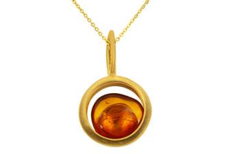 Bright Cognac Amber Subtle Pendant Necklace
