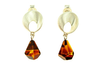 Amber and Silver Mobius Strip Earrings