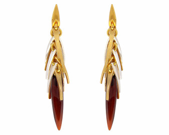 Natural Cognac Amber Icicle Earrings