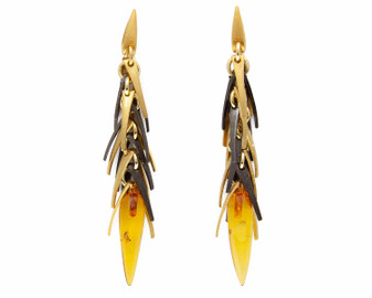 Natural Yellow Amber Icicle Earrings