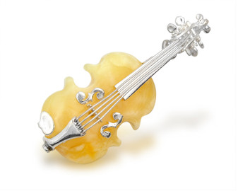 Silver Butterscotch Amber Violin Brooch