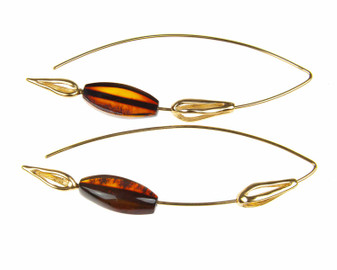 Modern Silver Natural Amber Threader Earrings