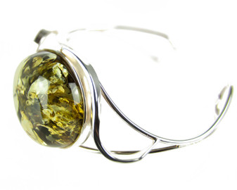 Green Amber Statement Bangle