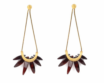 Amber Plume Long Earrings