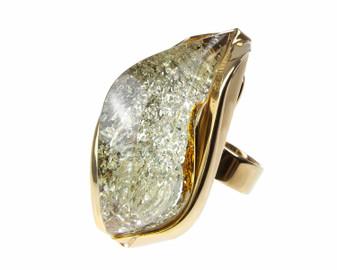Big Green Amber Adjustable Statement Ring