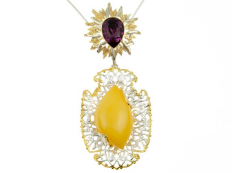 Amber Statement Pendant Necklace with Filigree Setting
