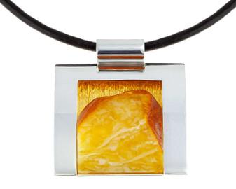 Raw Amber Modern Pendant Necklace