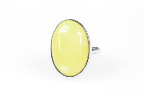 445d9a9b4ee03 Silver White Oval Amber Cocktail Ring