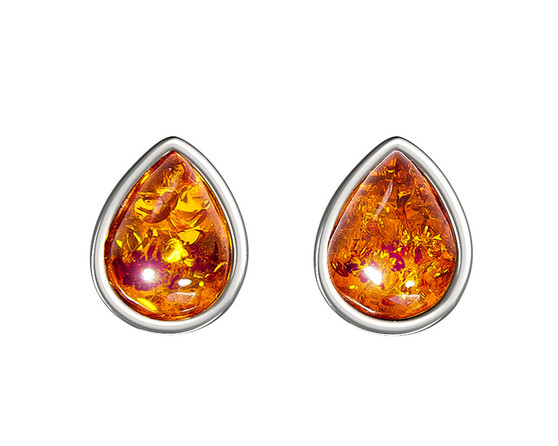 Amber teardrop - Silver rhodium plated and baltic honey amber